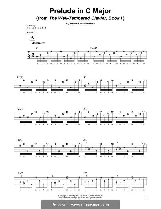 Прелюдия и фуга No.1 до мажор, BWV 846: Prelude, for banjo by Иоганн Себастьян Бах