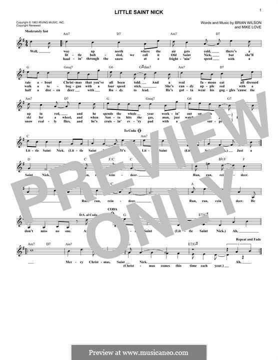 Little Saint Nick (The Beach Boys): Мелодия by Brian Wilson, Mike Love