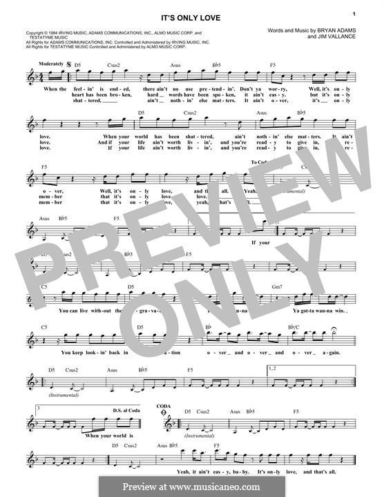 It's Only Love: Мелодия by Bryan Adams, Jim Vallance