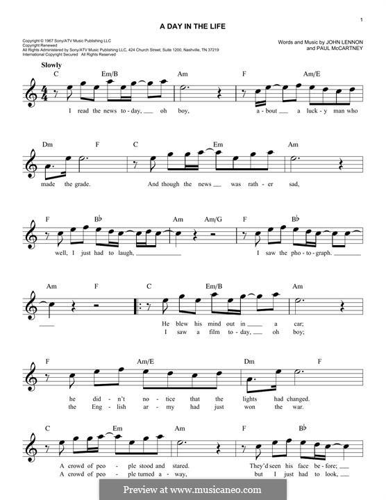A Day in the Life (The Beatles): Мелодия by John Lennon, Paul McCartney