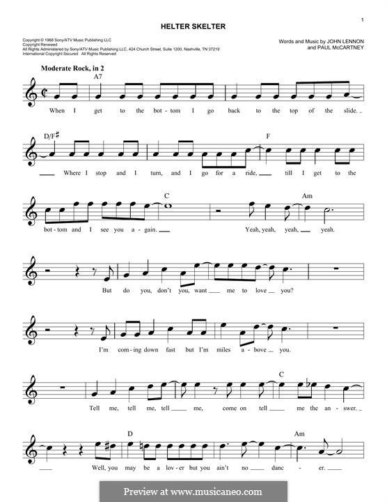 Helter Skelter (The Beatles): Мелодия by John Lennon, Paul McCartney