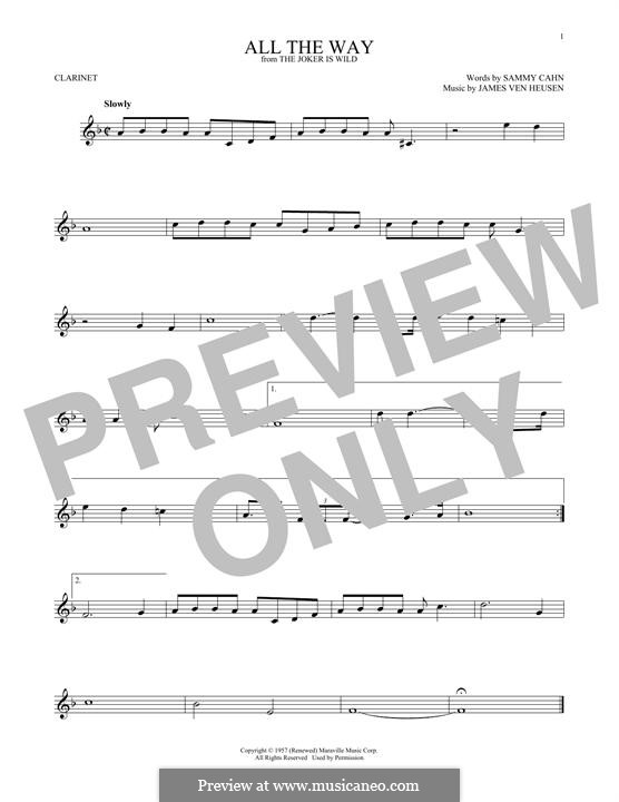 All the Way (Frank Sinatra): Для кларнета by Jimmy Van Heusen