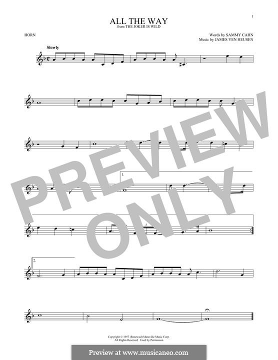 All the Way (Frank Sinatra): For horn by Jimmy Van Heusen