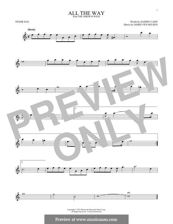 All the Way (Frank Sinatra): Для тенорового саксофона by Jimmy Van Heusen