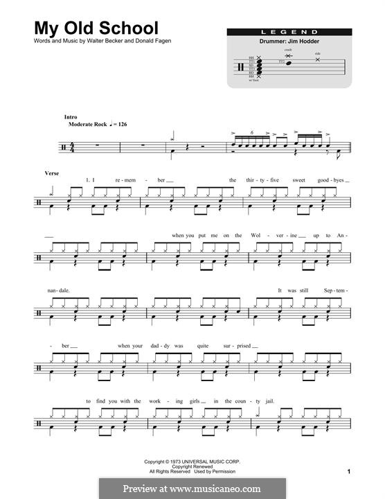 My Old School (Steely Dan): Drum set by Donald Fagen, Walter Becker