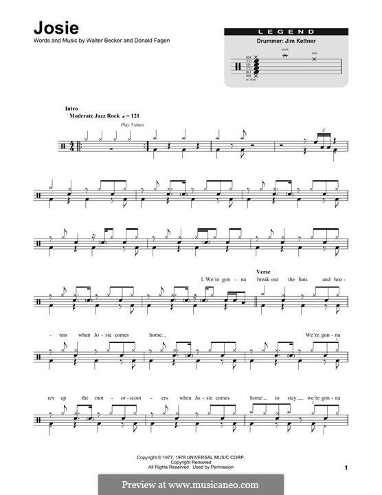 Josie (Steely Dan): Drum set by Donald Fagen, Walter Becker