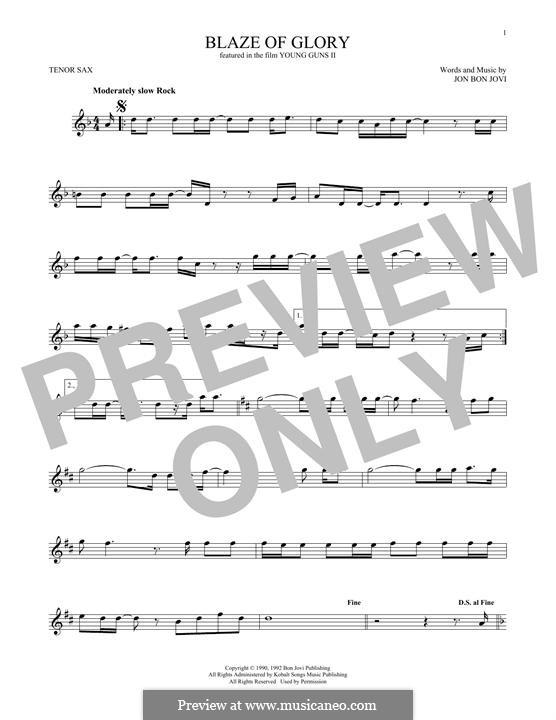 Blaze of Glory (Bon Jovi): Для тенорового саксофона by Jon Bon Jovi
