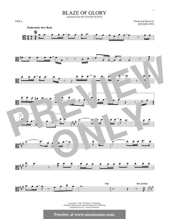 Blaze of Glory (Bon Jovi): For viola by Jon Bon Jovi