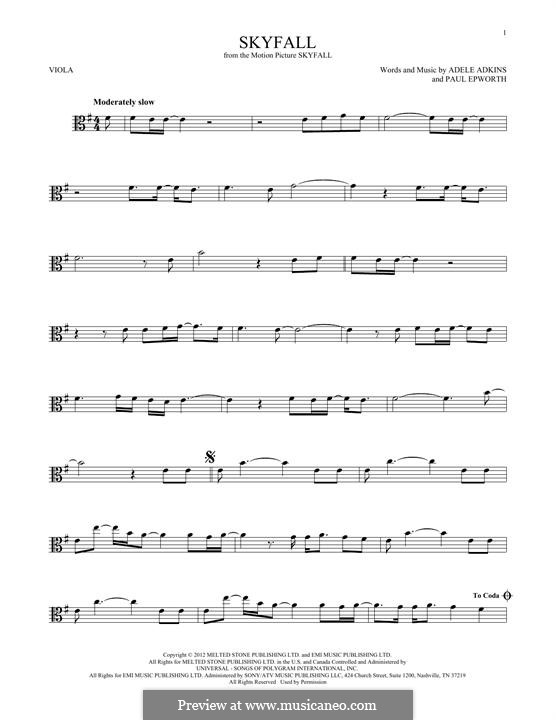 Instrumental version: For viola by Adele, Paul Epworth