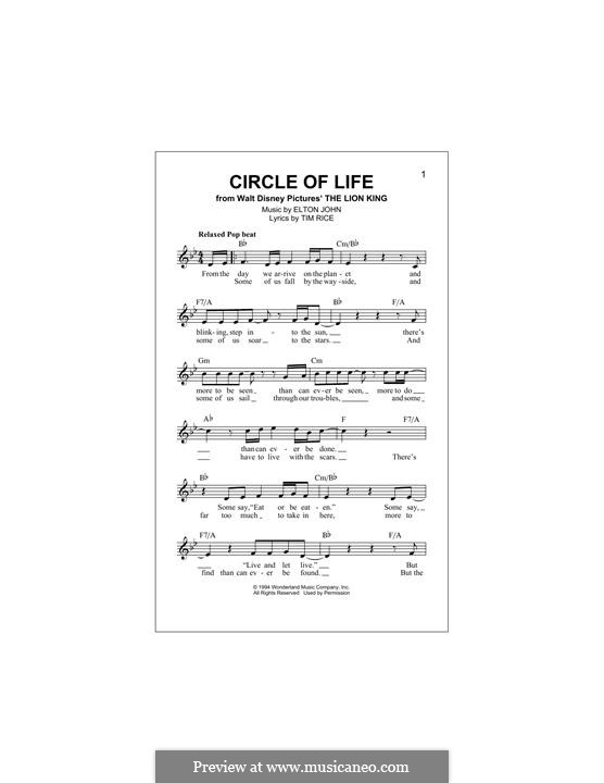 Circle of Life (from The Lion King), piano-vocal score: Мелодия by Elton John