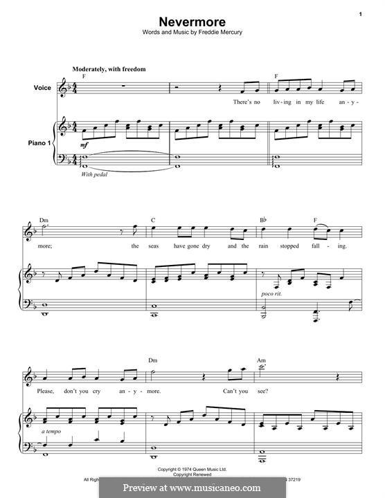 Nevermore (Queen): Для голоса и фортепиано by Freddie Mercury