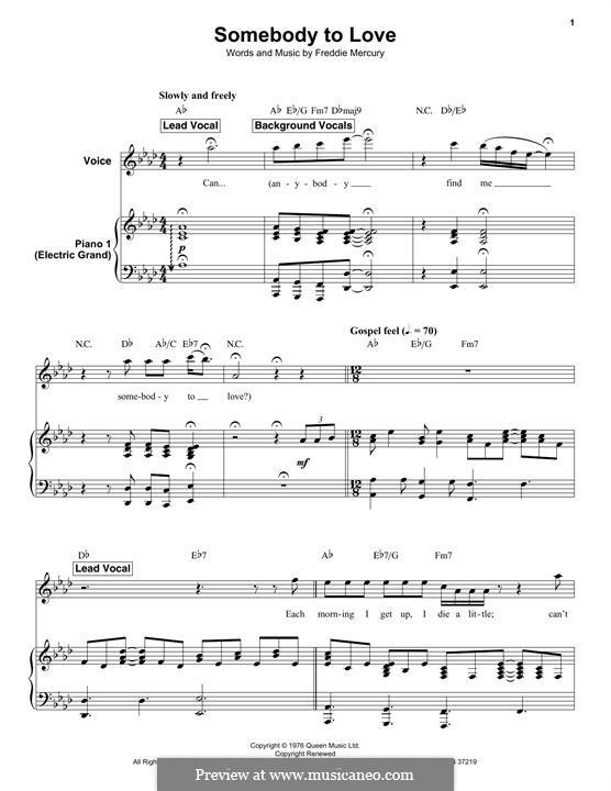 Somebody to Love (Queen): Для голоса и фортепиано by Freddie Mercury