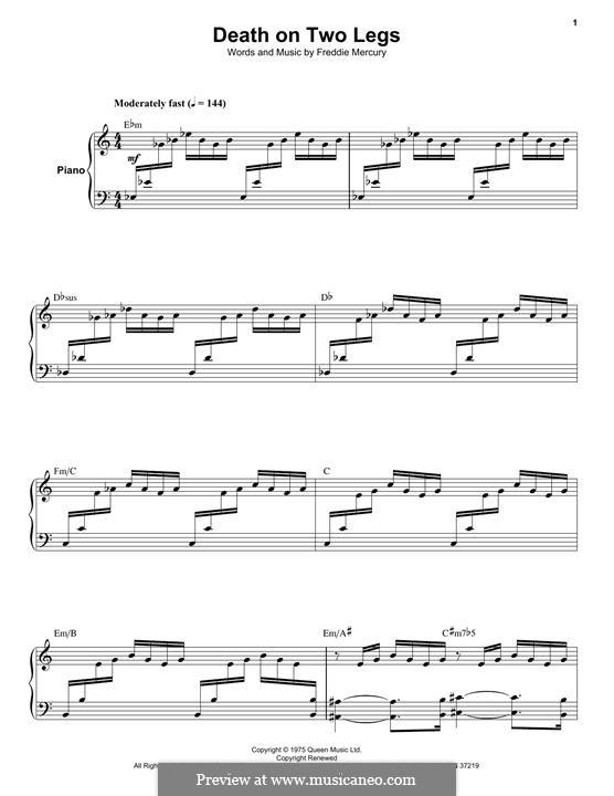 Death on Two Legs (Dedicated To...): Для голоса и фортепиано by Freddie Mercury