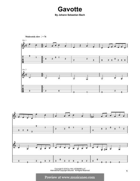 Партита для скрипки No.3 ми мажор, BWV 1006: Gavotte. Arrangement for guitar by Иоганн Себастьян Бах