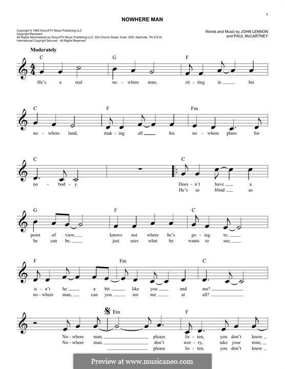 Nowhere Man (The Beatles): Мелодия by John Lennon, Paul McCartney