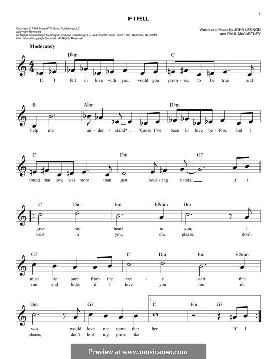 If I Fell (The Beatles): Мелодия by John Lennon, Paul McCartney