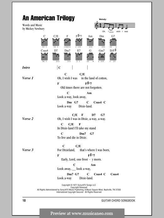 An American Trilogy (Elvis Presley): Текст, аккорды by Mickey Newbury