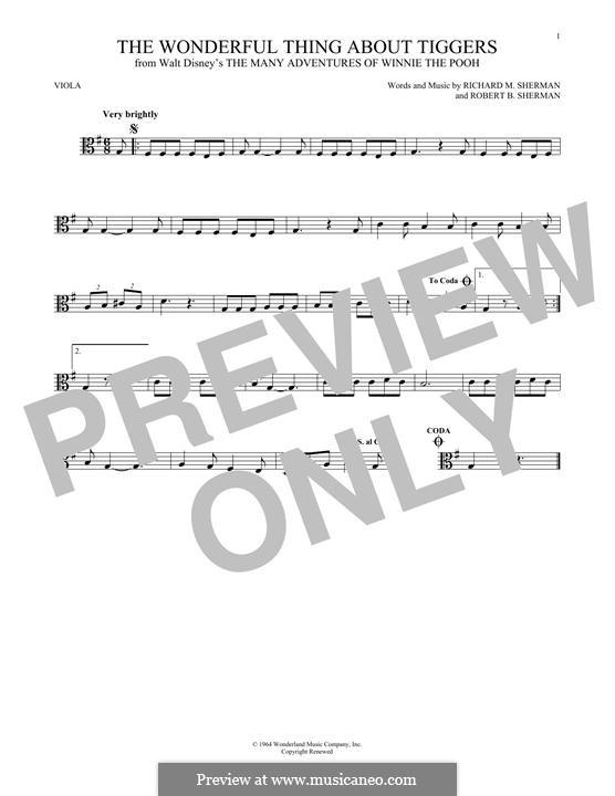 The Wonderful Thing About Tiggers: For viola by Richard M. Sherman, Robert B. Sherman