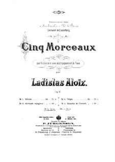 Пять пьес для виолончели и фортепиано, Op.47: No.5 Aveu  by Владислав Францевич Алоиз