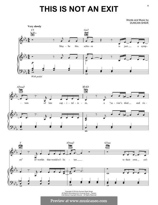 This is not an Exit: Для голоса и фортепиано (или гитары) by Duncan Sheik