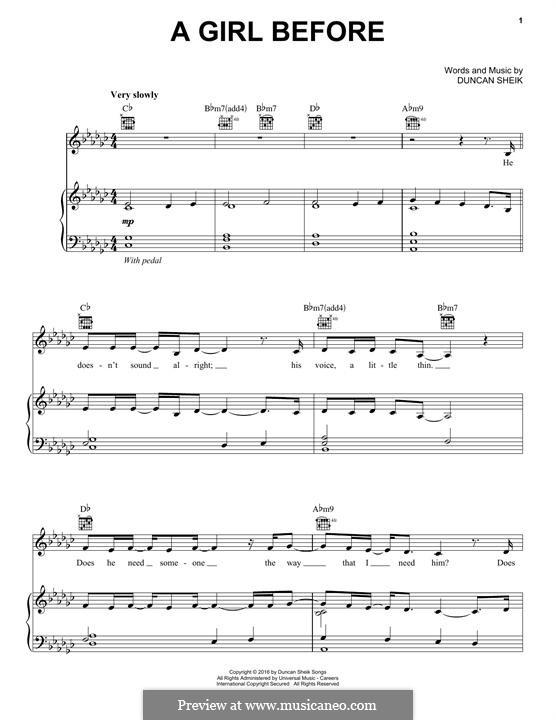 A Girl Before: Для голоса и фортепиано (или гитары) by Duncan Sheik