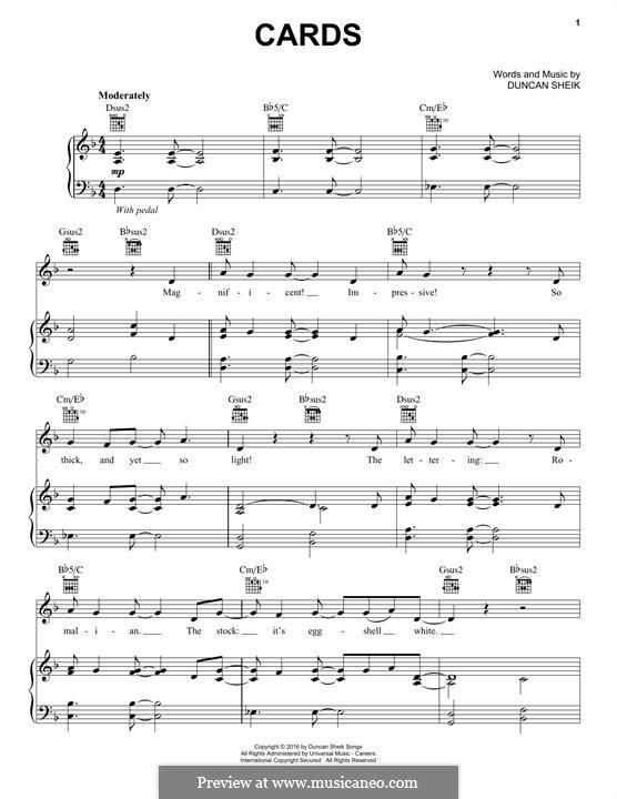 Cards: Для голоса и фортепиано (или гитары) by Duncan Sheik