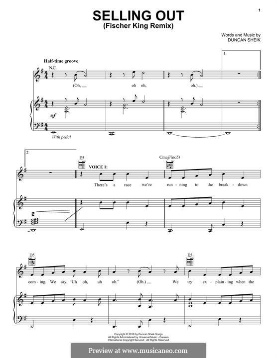Selling Out (Fischer King Remix): Для голоса и фортепиано (или гитары) by Duncan Sheik