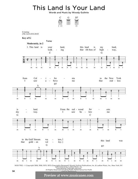 This Land Is Your Land (The New Christy Minstrels): For banjo by Woody Guthrie