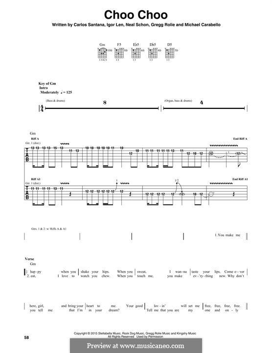 Choo Choo (Santana): Гитарная табулатура by Carlos Santana, Gregg Rolie, Michael Carabello, Neal Schon
