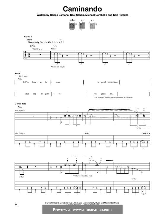Caminando (Santana): Гитарная табулатура by Carlos Santana, Karl Perazzo, Michael Carabello, Neal Schon
