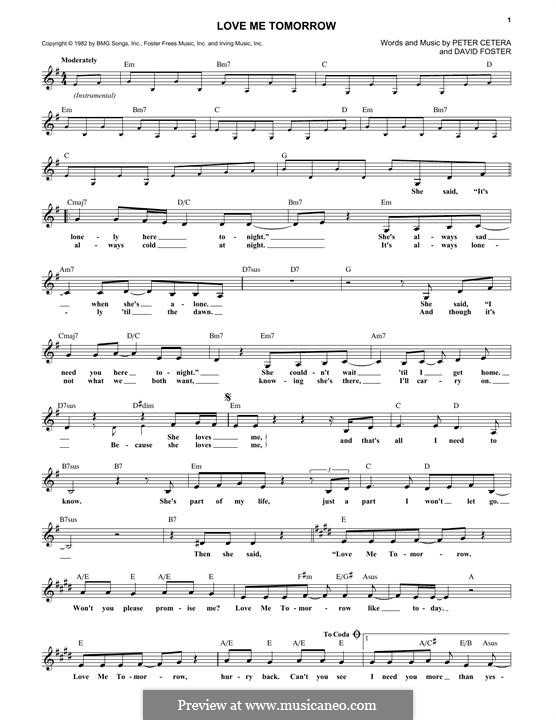 Love Me Tomorrow (Chicago): Текст, аккорды by David Foster, Peter Cetera