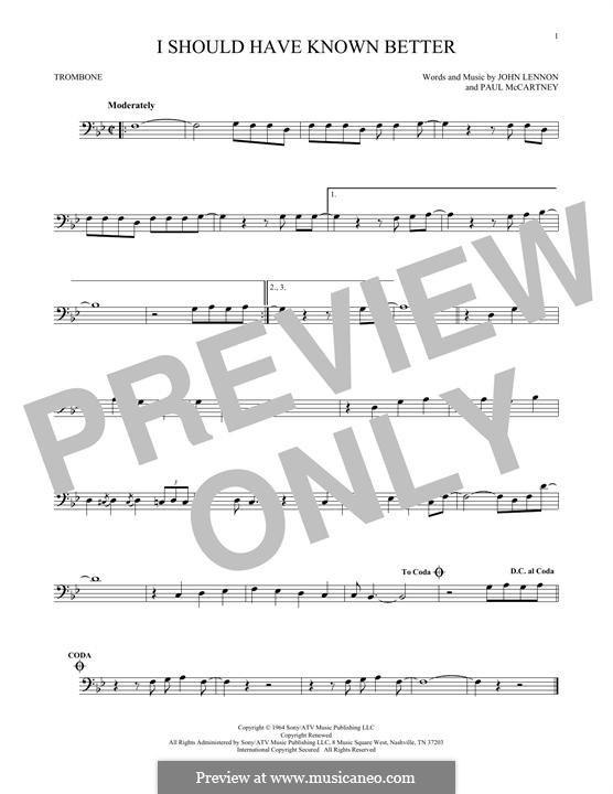 I Should Have Known Better (The Beatles): For trombone by John Lennon, Paul McCartney