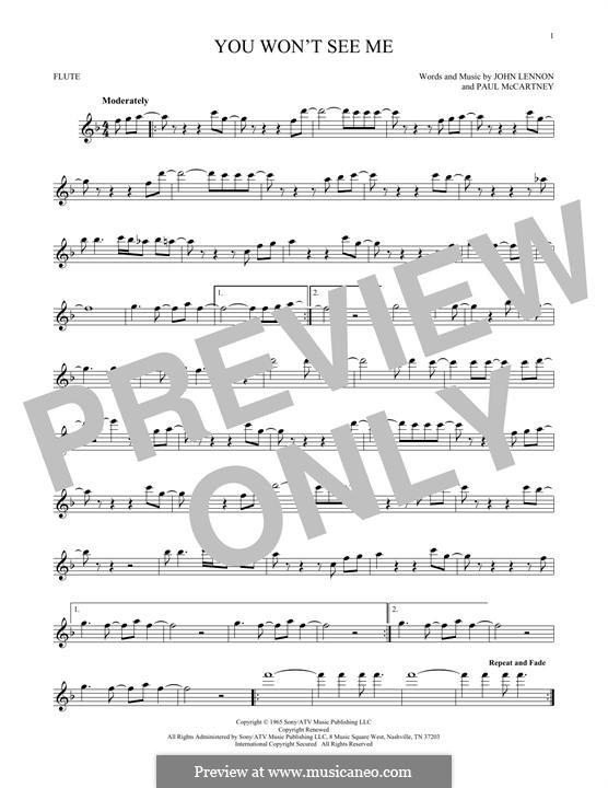 You Won't See Me (The Beatles): Для флейты by John Lennon, Paul McCartney
