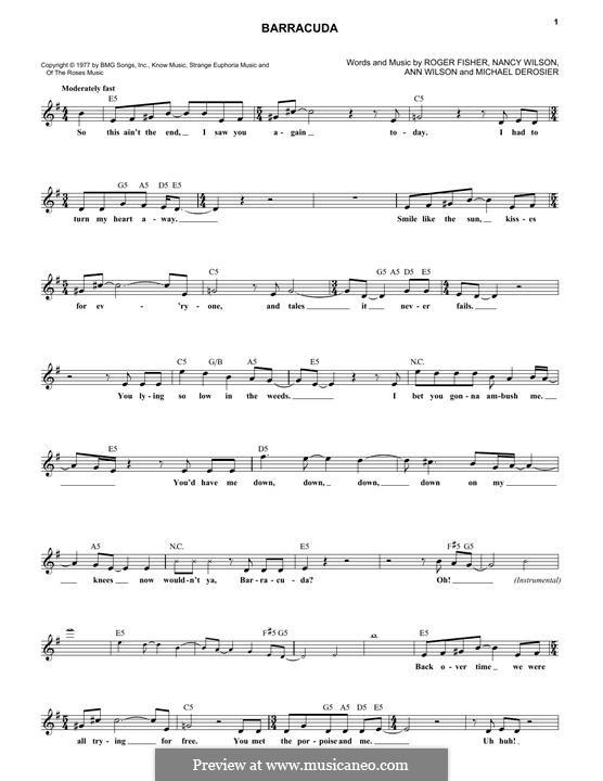Barracuda (Heart): Текст, аккорды by Ann Wilson, Michael Derosier, Nancy Wilson, Roger Fisher