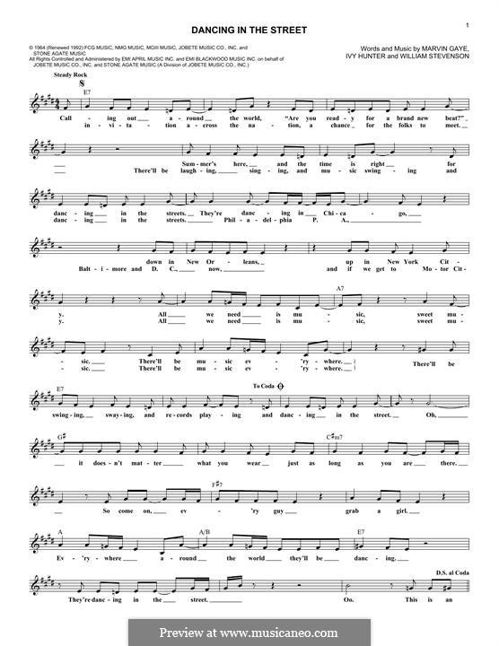Dancing in the Street (Martha & The Vandellas): Текст, аккорды by Ivory Joe Hunter, Marvin P. Gaye, William Stevenson