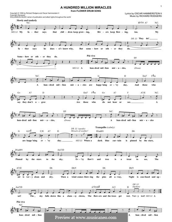 A Hundred Million Miracles (from Flower Drum Song): Мелодия by Richard Rodgers