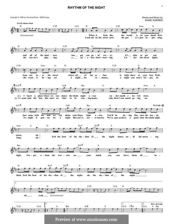 Rhythm of the Night (DeBarge): Текст, аккорды by Diane Warren