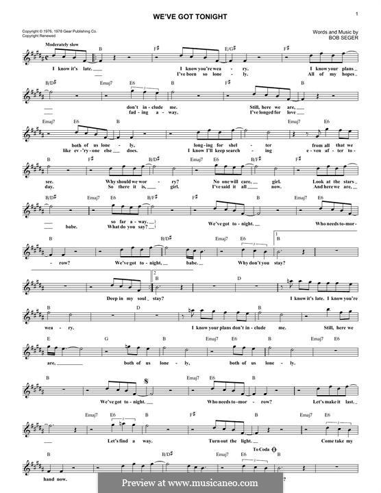 We've Got Tonight (Ronan Keating and Lulu): Текст, аккорды by Bob Seger