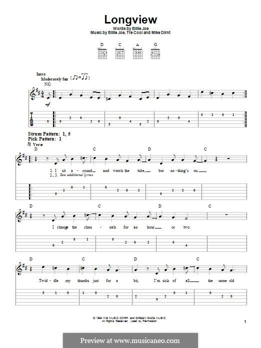Longview (Green Day): Гитарная табулатура by Billie Joe Armstrong, Tré Cool, Michael Pritchard