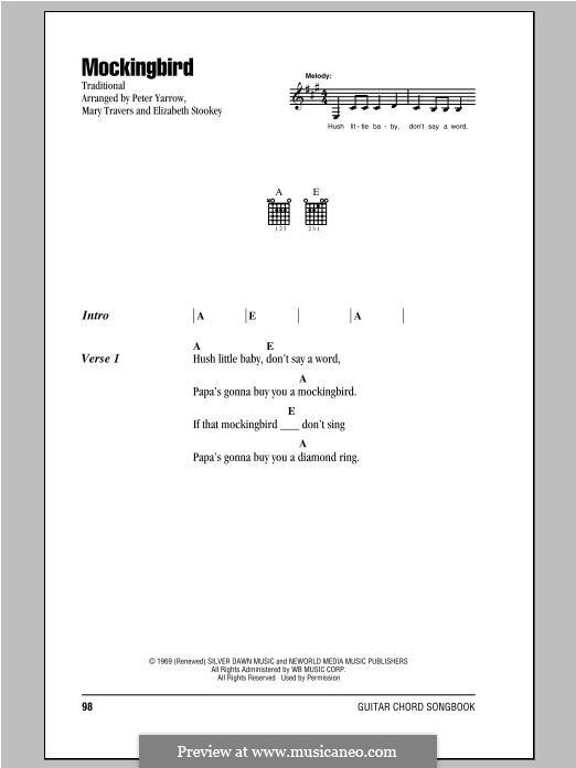 Mockingbird (Peter, Paul & Mary): Текст, аккорды by Peter Yarrow, Mary Travers, Elizabeth Stookey