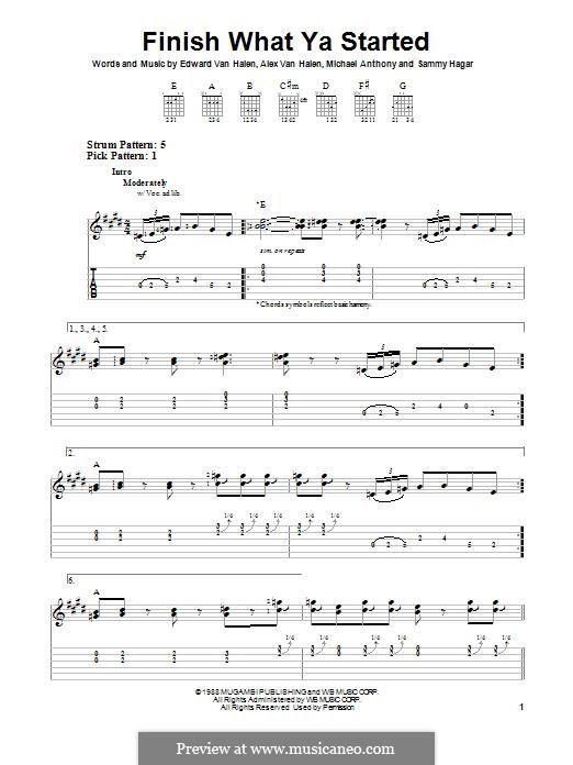 Finish What Ya Started (Van Halen): Гитарная табулатура by Alex Van Halen, Edward Van Halen, Michael Anthony, Sammy Hagar