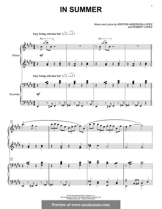 In Summer: Для фортепиано by Robert Lopez, Kristen Anderson-Lopez
