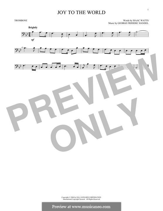 Joy to the World (Printable Scores): For trombone by Георг Фридрих Гендель