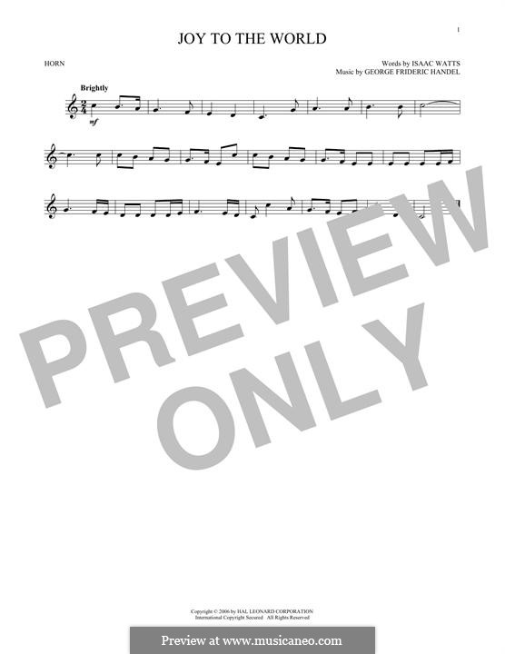 Joy to the World (Printable Scores): For horn by Георг Фридрих Гендель