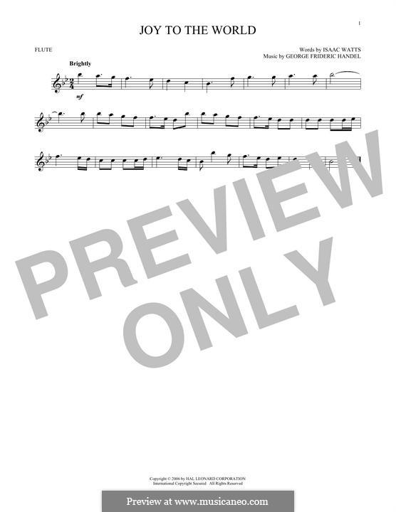 Joy to the World (Printable Scores): Для флейты by Георг Фридрих Гендель