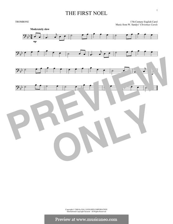 The First Nowell (The First Noël), Printable scores: For trombone by folklore