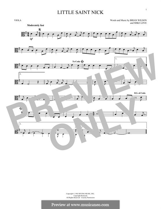 Little Saint Nick (The Beach Boys): For viola by Brian Wilson, Mike Love