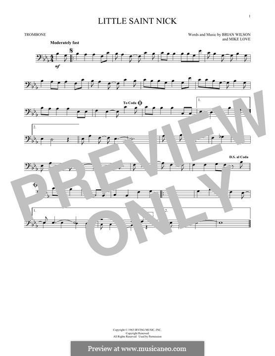 Little Saint Nick (The Beach Boys): For trombone by Brian Wilson, Mike Love