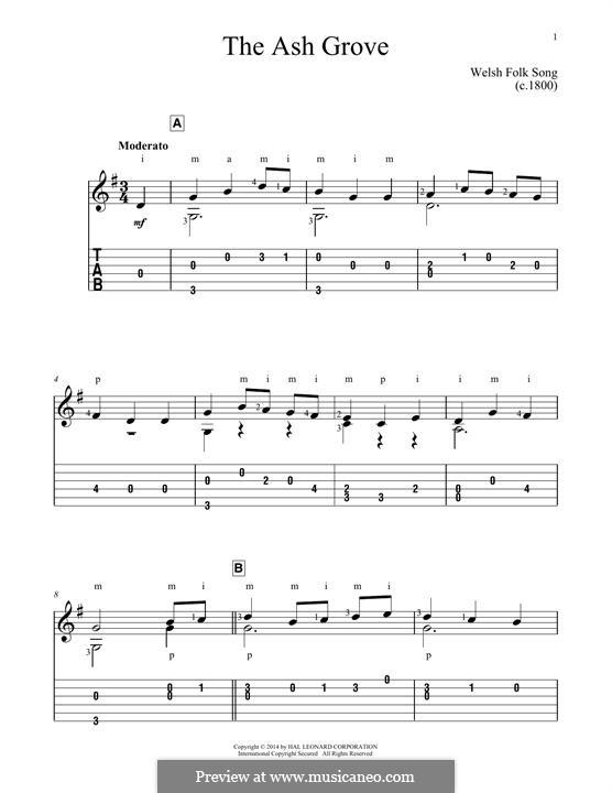 The Ash Grove: Гитарная табулатура by folklore
