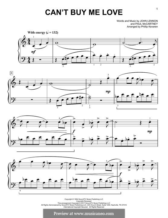 Can't Buy Me Love (The Beatles): For piano (classical version) by John Lennon, Paul McCartney